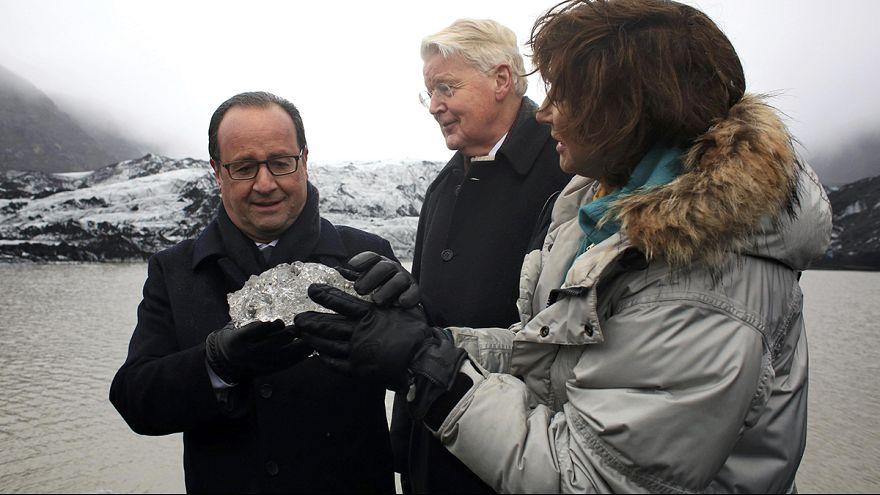 Francois Hollande visits Iceland glacier