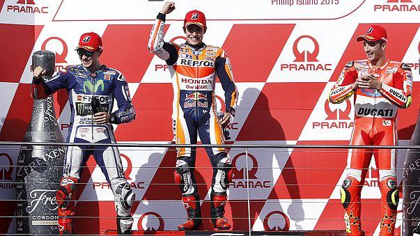 Márquez vence corrida alucinante na Austrália, Miguel Oliveira ainda sonha