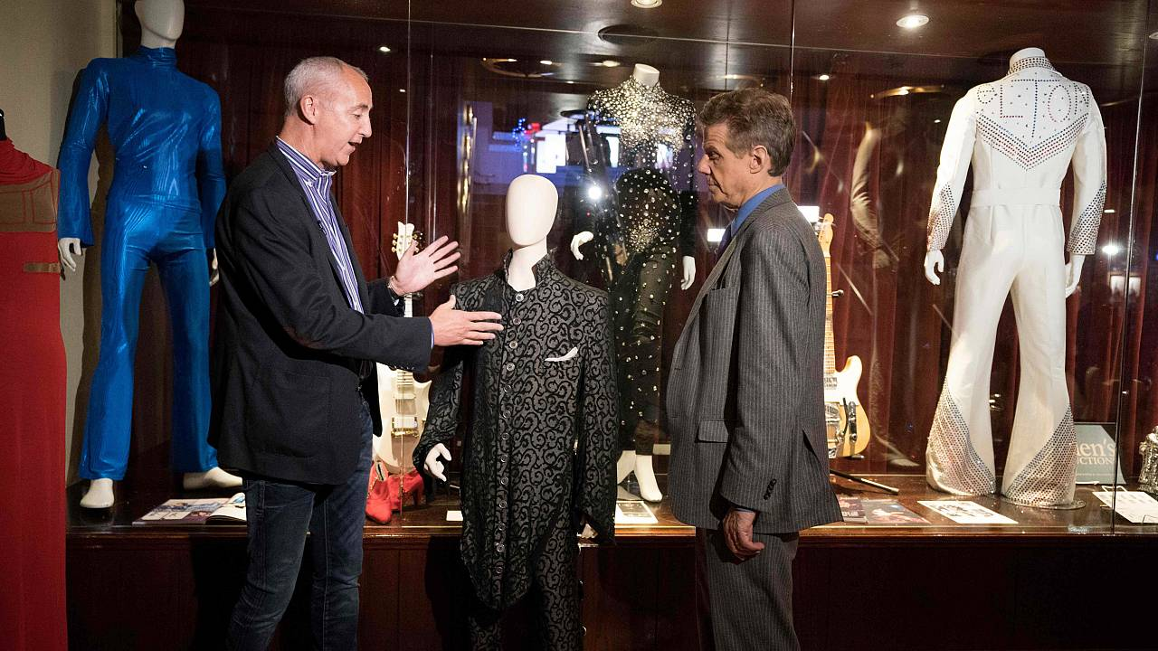 Image: Martin Nolan, executive director of Julien's Auctions, speaks with a
