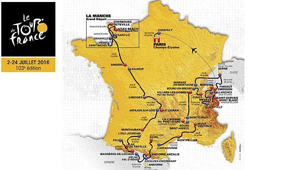 """""""Tour de France 2016"""" bisiklet turunun haritası açıklandı"""