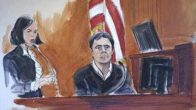Mehmet Hakan Atilla testifies during his trial on corruption charges in New York on Dec. 15, 2017.