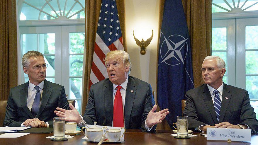 Image: Jens Stoltenberg, Donald Trump, Mike Pence