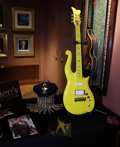 Prince\'s Yellow Cloud guitar on display during a Rock and Roll memorabilia press preview for Julien\'s Auctions