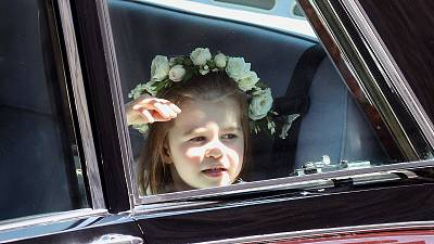 Princess Charlotte wore a sweet flower crown as she arrived at the ceremony.