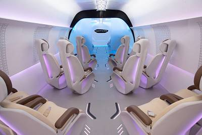 The Virgin Hyperloop One mock-up has room for a total of 19 passengers in two classes of service.