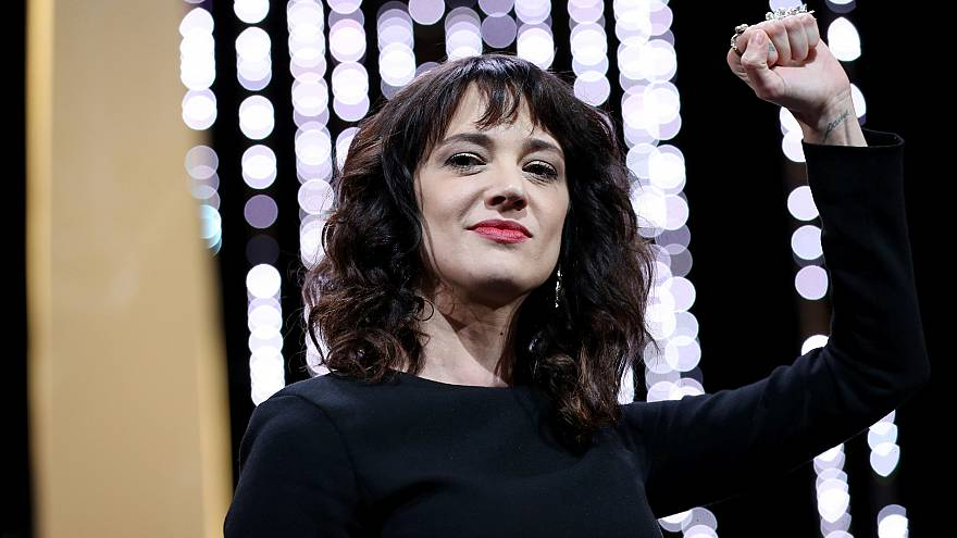 Image: Italian actress Asia Argento gestures on stage on May 19, 2018 durin