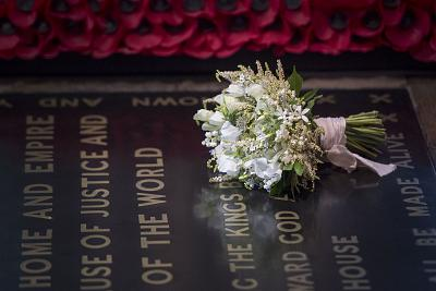 The Duchess of Sussex\'s wedding bouquet rests on the grave of the Unknown Warrior in Westminster Abbey, part of a longtime royal tradition.