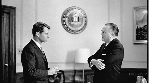 Image: RFK confers with FBI director J. Edgar Hoover in his office.