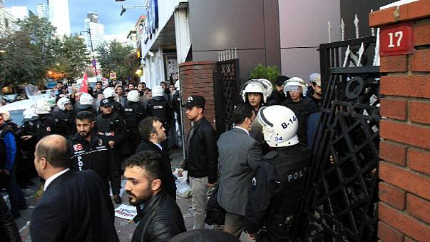 Outrage in Turkey at take over of media outlets