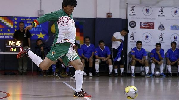 Evo Morales celebrates his birthday by playing football