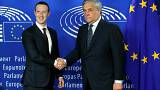 Image: Facebook's CEO Mark Zuckerberg shakes hands with European Parliament