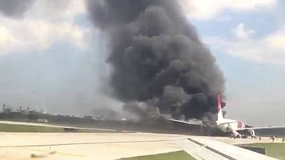 Plane catches fire during takeoff at Florida airport