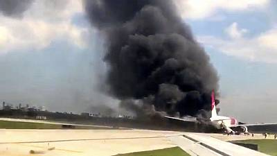Passenger jet in flames at Florida airport
