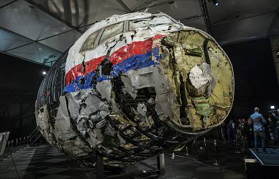 The reconstructed wreckage of MH17 in the Netherlands in 2015.