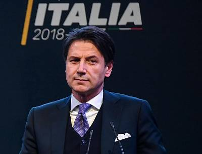 Giuseppe Conte speaks at an election event in Rome on March 1.