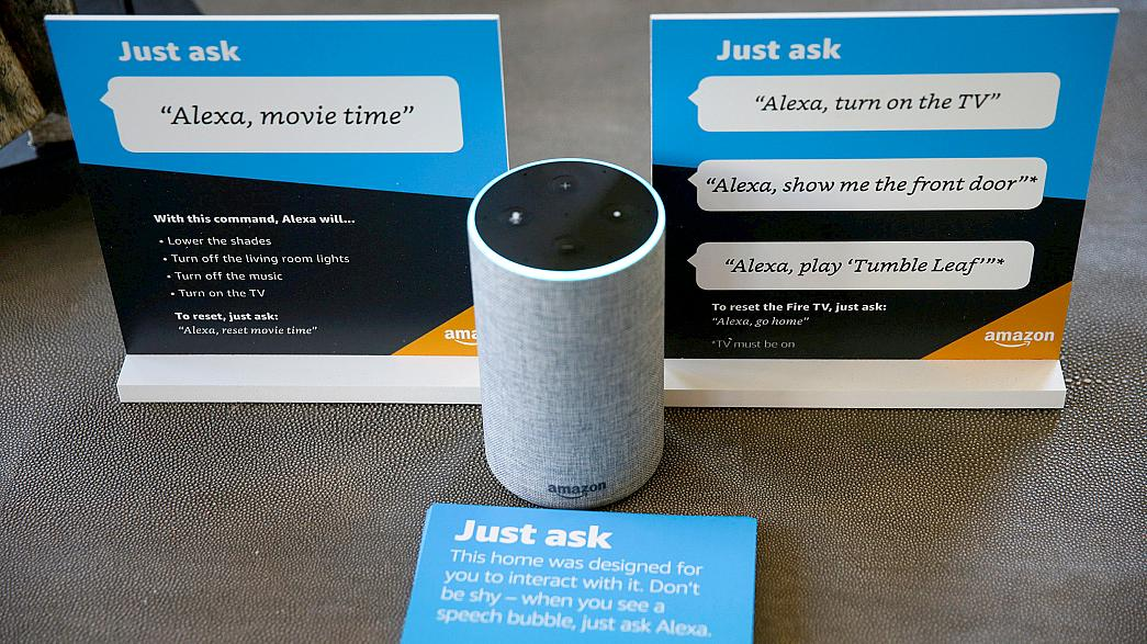 Image: Prompts on how to use Amazon's Alexa personal assistant are seen alo