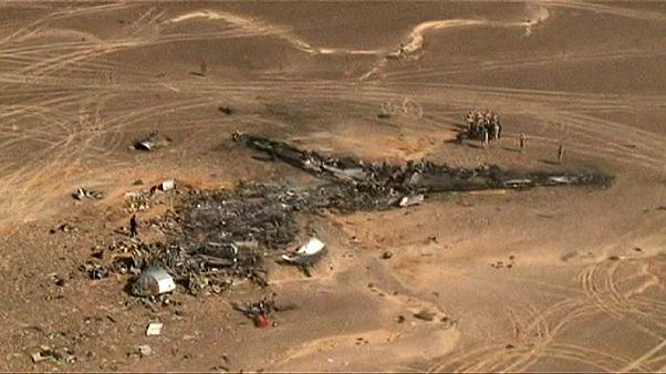 Vista aérea del lugar donde se estrelló en Egipto el avión de la compañía rusa Metrojet