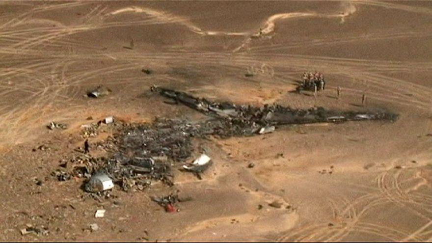 Yere çakılan Rus uçağının havadan görüntüsü