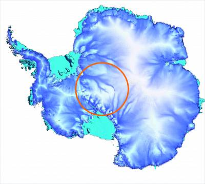 The orange circle show the area where there is a gap in satellite gravity data coverage in Antarctica.  New airborne survey data, combined with data from other international data gathering missions, will fill the gap.