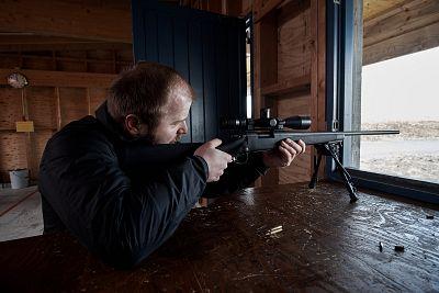 Olaf Garðar Garðarsson practices his aim.