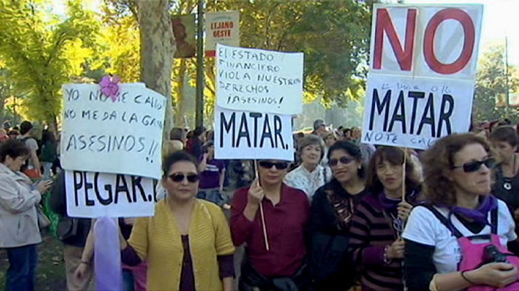 الآلاف يتظاهرون في مدريد احتجاجاعلى عمليات العنف المنزلي ضد النساء