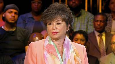 Valerie Jarrett speaks at the town hall.