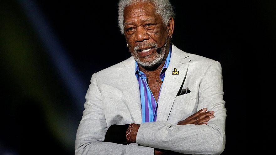 Image: Morgan Freeman speaks during the opening ceremonies of the Invictus