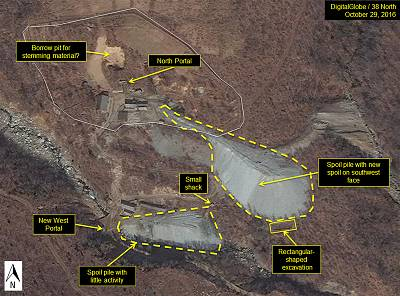 The North Portal area at North Korea\'s Punggye-Ri Nuclear Test Site Excavation on Oct. 19, 2016.
