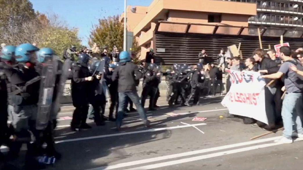 Proteste gegen Treffen von Mitte-Rechts-Politikern in Bologna