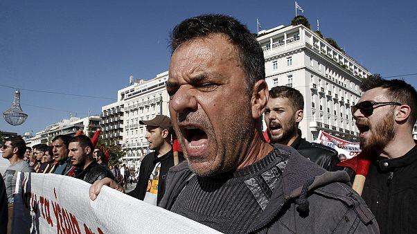 Greek 24-hour general strike as protesters demonstrate against austerity measures
