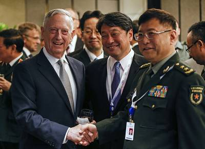 Defense Secretary James Mattis, Japan\'s Defense Minister Itsunori Onodera and China\'s People\'s Liberation Army\'s Academy of Military Science Deputy President He Lei in Singapore on Saturday.