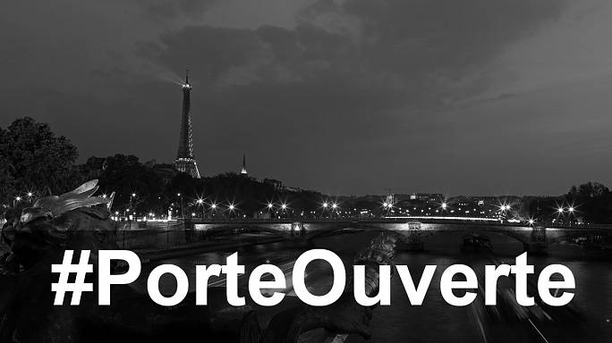 الفرنسيون يعلنون استعدادهم لإيواء من تواجد في مواقع التفجيرات الارهابية مستخدمين هاشتاغ   عبرتويتر#porteouvert