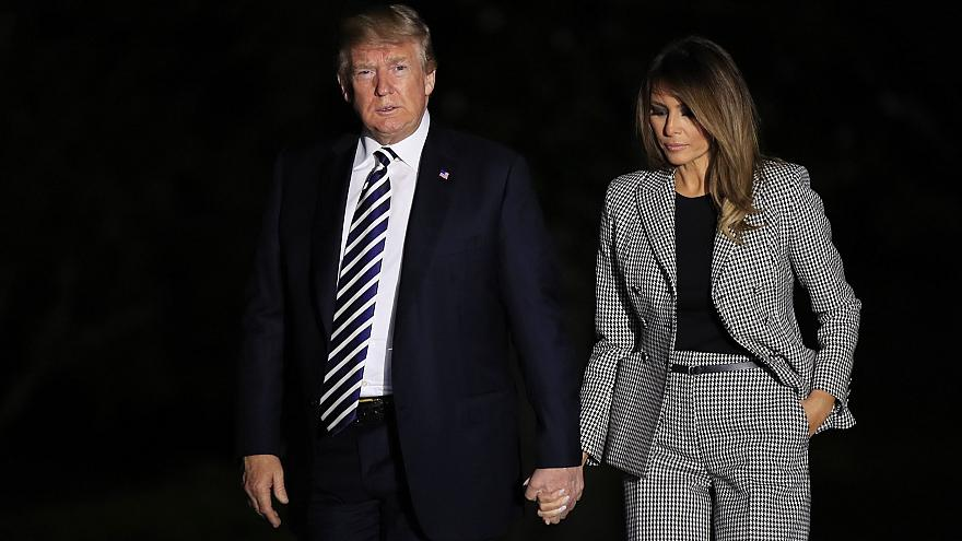Image: President Donald Trump and first lady Melania Trump return to the Wh