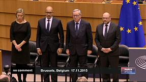 EU parliament honours Paris attack victims in silence