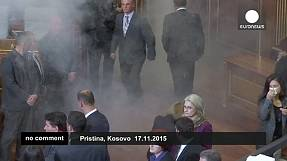 Tear gas fired in Kosovo parliament