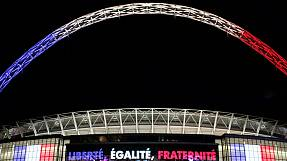 France and England football fans unite for La Marseillaise at Wembley
