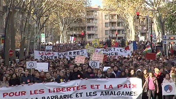Diversas manifestaciones contra el terrorismo tienen lugar en Francia y varios países de Europa