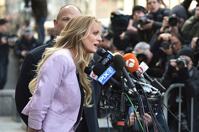 Stephanie Clifford speaks to reporters outside U.S. District Court in New York on April 16.