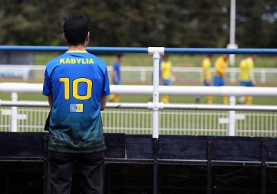 A Kabylian soccer supporter watches the CONIFA World Football Cup game against Tibet on Thursday.