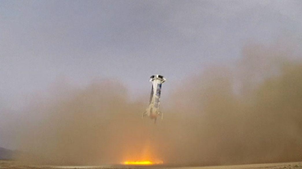 Blue origin réussit pour la première fois à poser une fusée en douceur