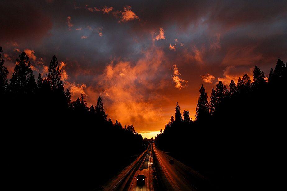 Coucher de soleil et orage hivernal en Californie