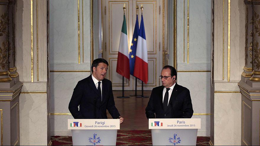 """Renzi respalda la iniciativa de Hollande contra el Dáesh y ambos piden """"una solución global"""" al drama de los refugiados"""