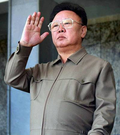 North Korean leader Kim Jong-Il salutes the Korean People\'s Army soldiers marching in Kim Il Sung Square in Pyongyang to mark the 60th anniversary of the Workers\' Party of Korea on Oct. 10, 2005.