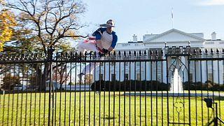 Beyaz Saray'ın parmaklıklarını aşarak bahçesine girdi