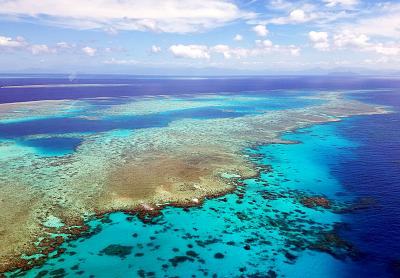 The Great Barrier Reef in the Coral Sea off the coast of Queensland, Australia.