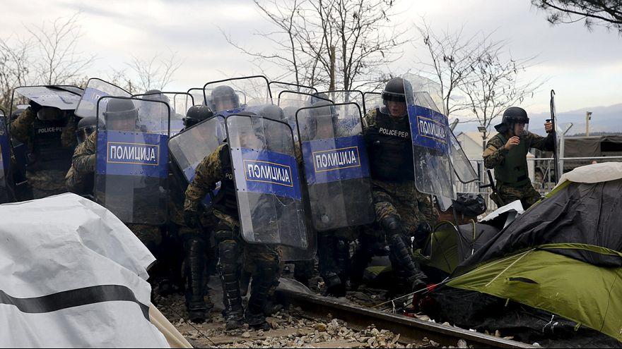 درگیری پلیس با پناهجویان در مرز مقدونیه