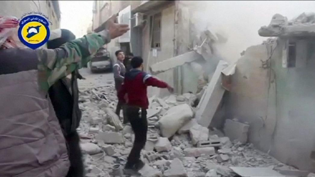 Syria: 40 reported dead in air strikes on market, blamed on Russian jets