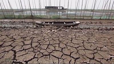 Agriculturores chineses deslocados devido à seca severa e à falta de água