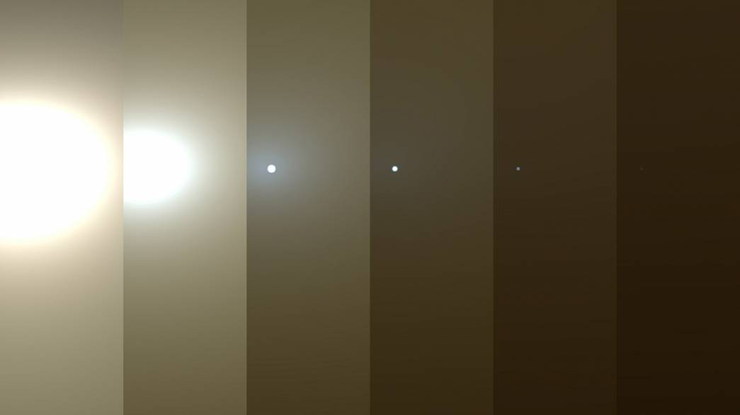 Image: This series of images shows simulated views of a darkening Martian s