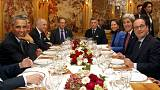 Hollande ve Obama çalışma yemeğinde bir araya geldi
